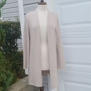 EILEEN FISHER Tan Open Front Cardigan Sweater Sz L